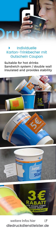 Doppelwandige Heiß ränke Becher mit perforiertem Gutscheinfeld drucken und individuellem Werbemotiv für Coupon Aktionen und Promotion