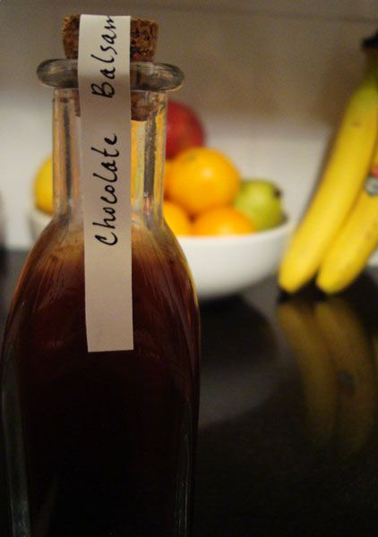 Chocolate balsamic vinegar (to drizzle over ice cream or fruits)