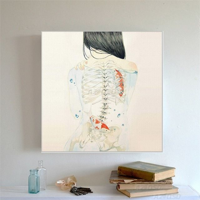 Art Prints Poster Wall Picture Watercolor Japanese Sexy Naked Tatooed Girl  #Asian
