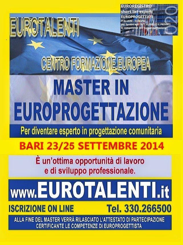 EUROPROGETTAZIONE- EUROTALENTI: A #PERUGIA  9-11 SETTEMBRE 2014  CORSO SPECIALE DI 3 GG FORMATIVI IN #EUROPROGETTAZIONE  PER REALIZZARE UNA SHORT LIST DI #EUROPROGETTISTI* + LABORATORI INTERATTIVI e utilizzare totalmente i fondi diretti #europei. (*competenza molto richiesta da #Enti Pubblici e Privati, #Università, Enti locali, PMI ed Enti Parchi che necessitano dei #finanziamenti europei per #progetti di #sviluppo del #territorio). www.eurotalenti.it