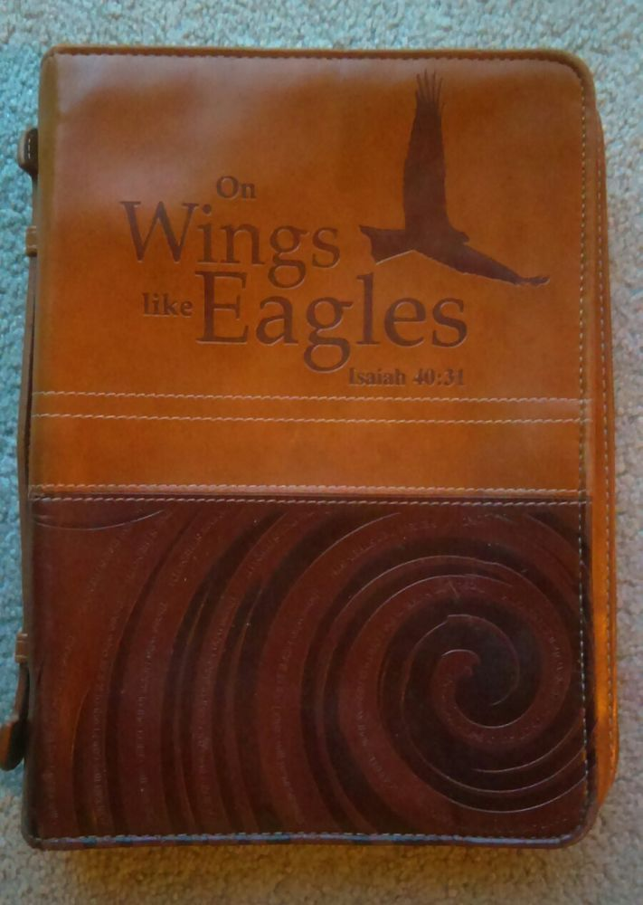 """Brown Bible Cover - Isaiah 40:31 """"On Wings Like Eagles"""" Size Medium  10""""x7"""" 