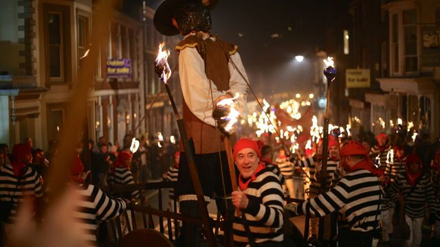 Lewes Bonfire  England  Guy Fawke's Day, or Bonfire Night, is traditional throughout the UK, but in Lewes the celebration reaches new heights.
