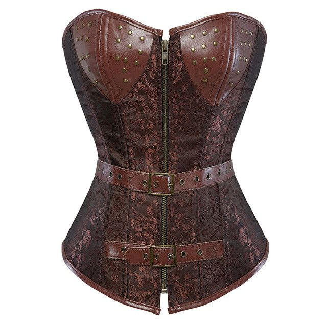 Steampunk Corset Faux Leather Burlesque Clubwear Lace up Boned with Chains Gothic Carnival Clothing plus size S-6XL