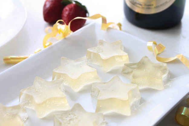 Make a tray of champagne Jell-o, then use a cookie cutter to make festive Jell-o shots.
