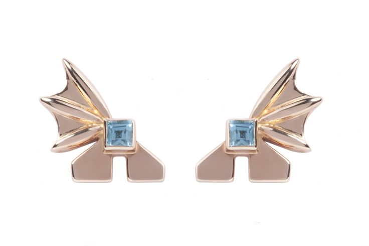 These rose gold-plated silver earrings influenced mythological Pegasus who represents self improvement in life and love. £336