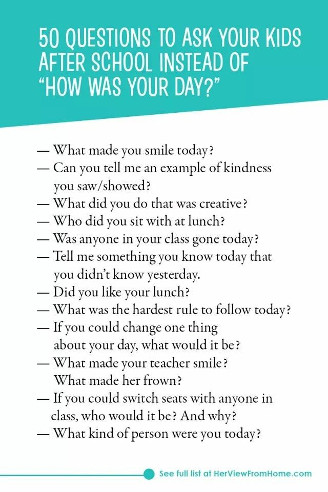 50 Questions To Ask Your Kids After School Positive