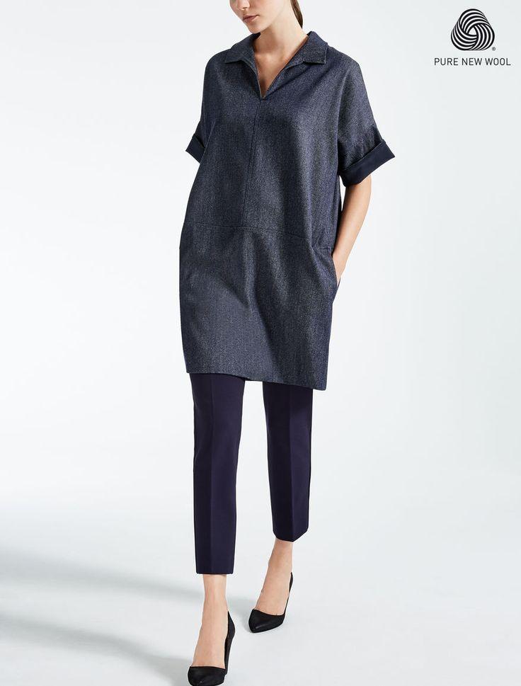 Max Mara RAID blu marino: Abito in lana effetto denim.