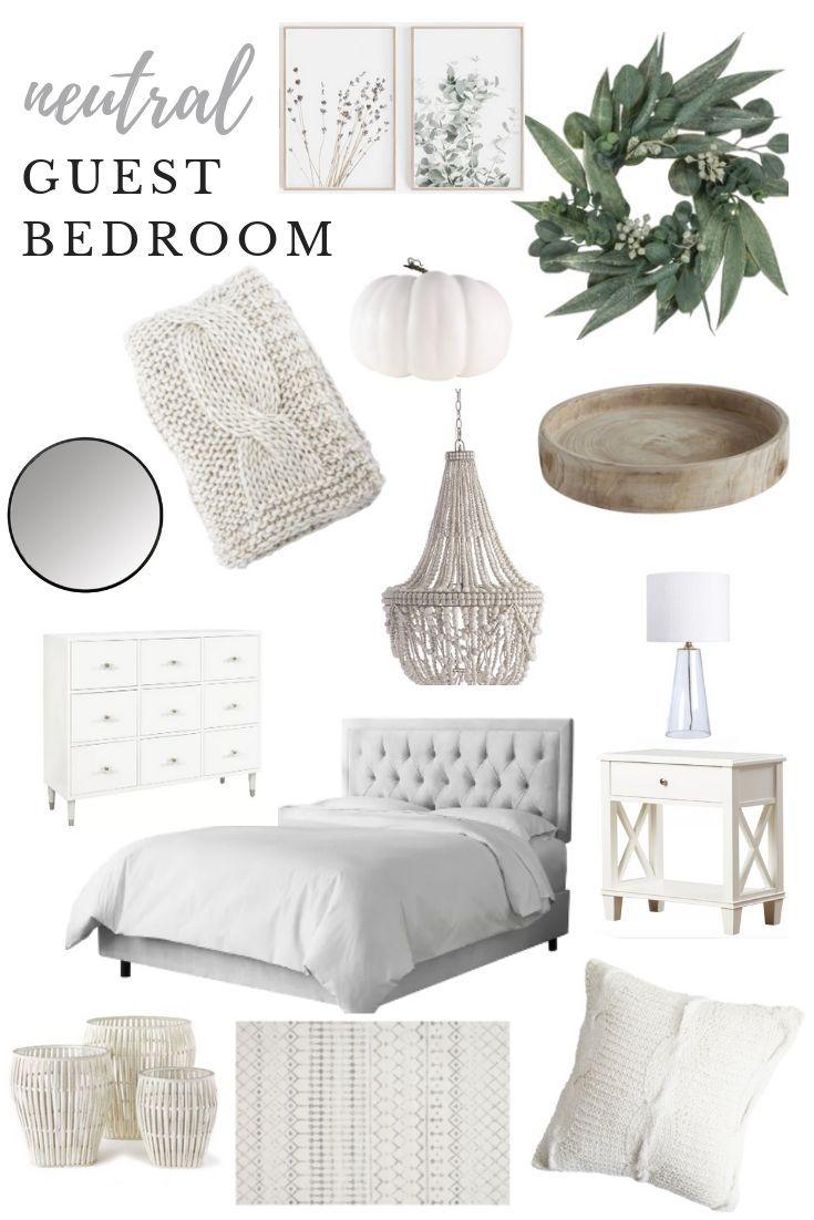 Neutral Guest Bedroom Design White Grey Tan Neutrals Organic European Prettyinthepines Neutral Guest Bedroom Guest Bedroom Design Guest Bedroom Decor Neutral spare bedroom ideas