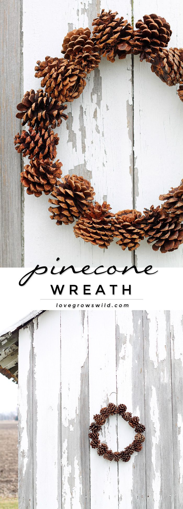 Make this beautiful, rustic Pinecone Wreath with just 3 supplies! So easy to do! More details at LoveGrowsWild.com