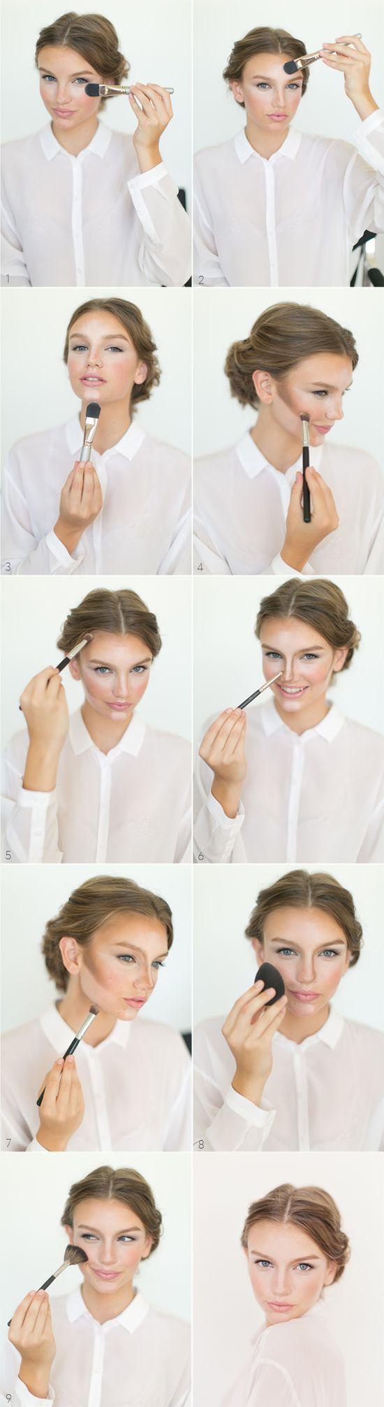 Cheekbone makeup technique.