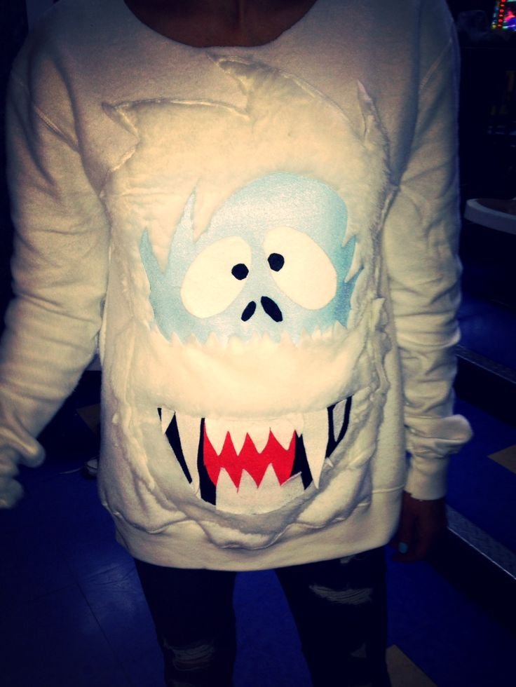 """Homemade """"ugly sweater"""" of Abominable Snowman from Rudolph movie."""