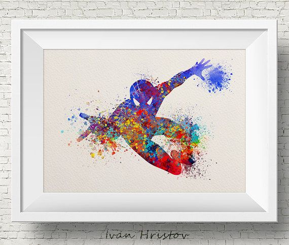 Abstract Spiderman, Super Hero, Spiderman, Kids Poster, Watercolor  Painting, Archival Fine