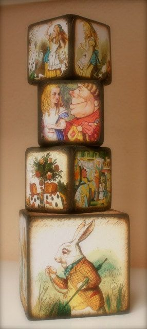 vintage Alice in vintage Wonderland Blocks...great idea for décor/props.  You could just cover some different size paper boxes with Alice in Wonderland paper images.