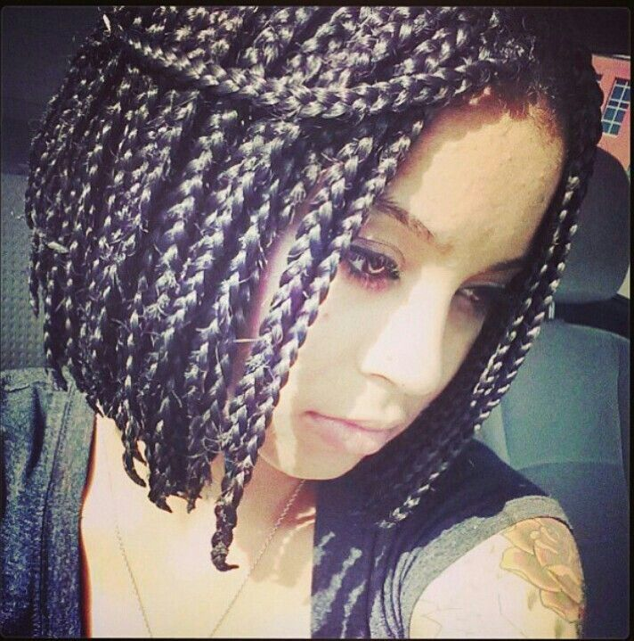Box Braids With Bangs Cute bob box braids