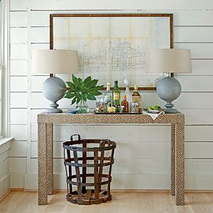 fabric wrapped parsons console, mod coastal style: Idea, Beaches House, Bar Tables, Metals Baskets, Decoration, Consoles Tables, Blue Lamps, Coastal Styles, Coastal Living