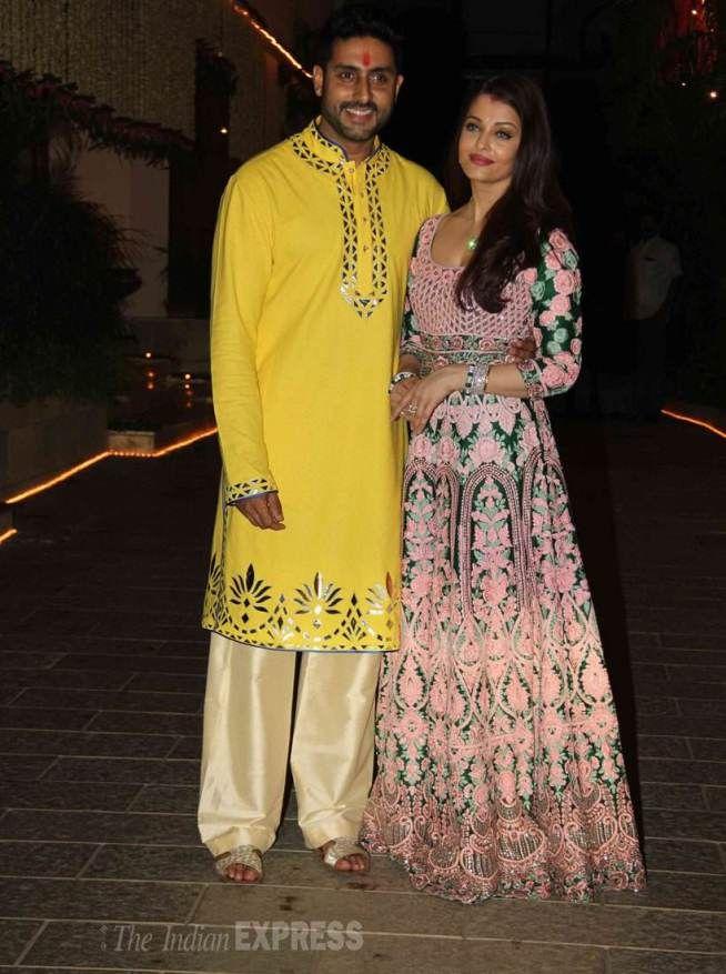Abhishek Bachchan and Aishwarya Rai Bachchan at Amitabh Bachchan's #Diwali bash. #Bollywood #Fashion #Style #Beauty #Handsome #Desi