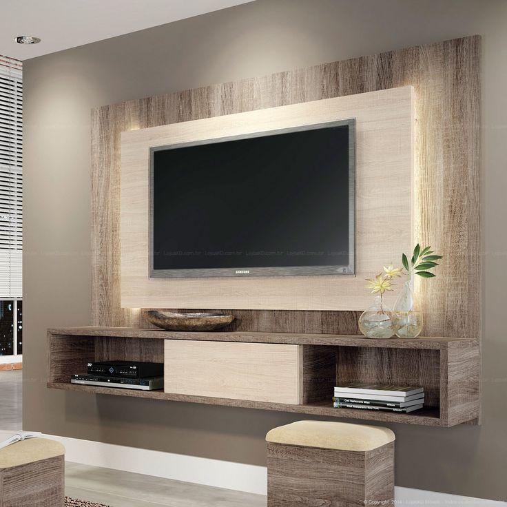 Home Suspenso para TV até 47 Polegadas Lume com 1 Porta de Correr e Fita LED 133 x 180 x 32,5 Roble Graffiato/Bianco Vitale - HB Móveis | Lojas KD