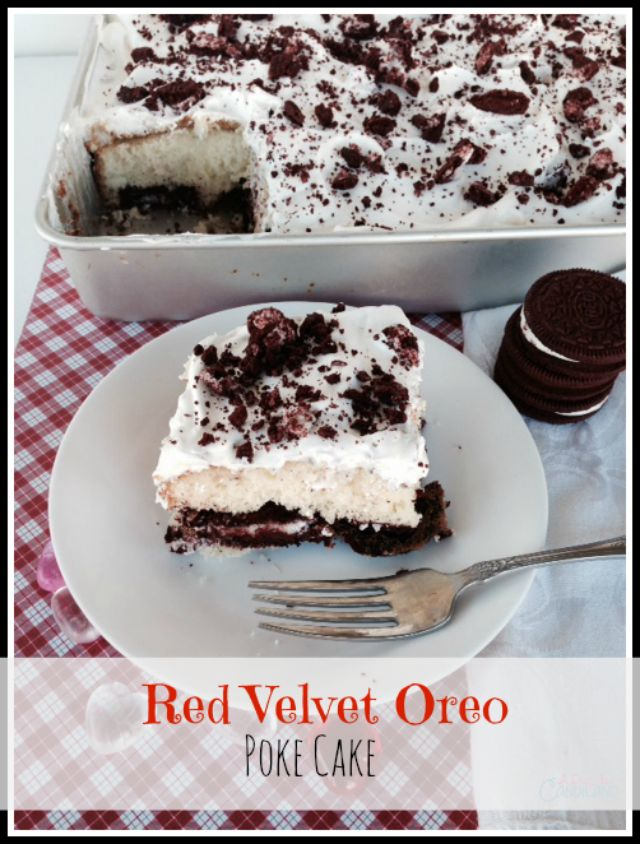 Red Velvet Oreo Poke Cake using limited edition red velvet cheesecake oreos. You can use regular oreos when these are sold out. Crust is Oreo Cookies