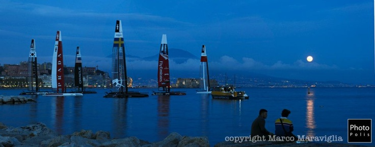 postcard from naples: the gulf, Vesuvio, the boats and moon. wonderful show from the American's cup world series 2012 @Naples