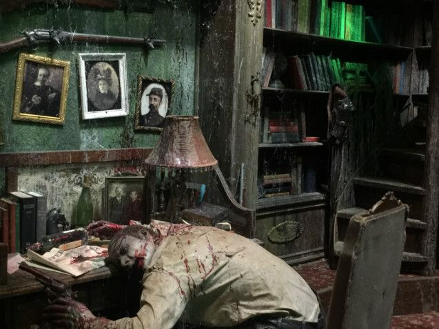 Dead in the library halloween ideas pinterest for Haunted house scene ideas