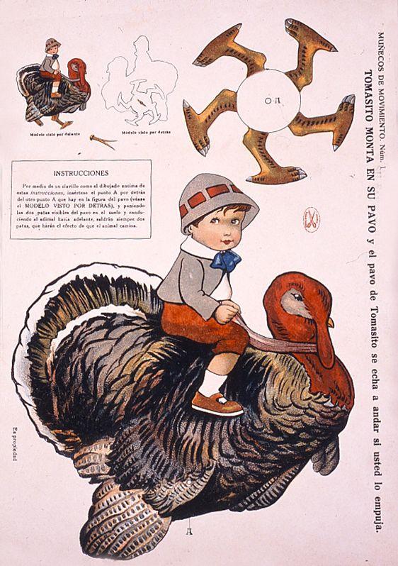 """Recortable """"Tomasito monta en su pavo"""", Ediciones La Tijera, ca. 1925. Museo del Traje"""