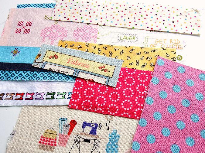 Selecionando-fabrics-para-improv-pieced-bolsas-rosa