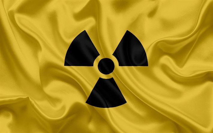 Télécharger fonds d'écran signe de rayonnement, les signes de danger, de soie jaune d'arrière-plan, les panneaux d'avertissement de rayonnement