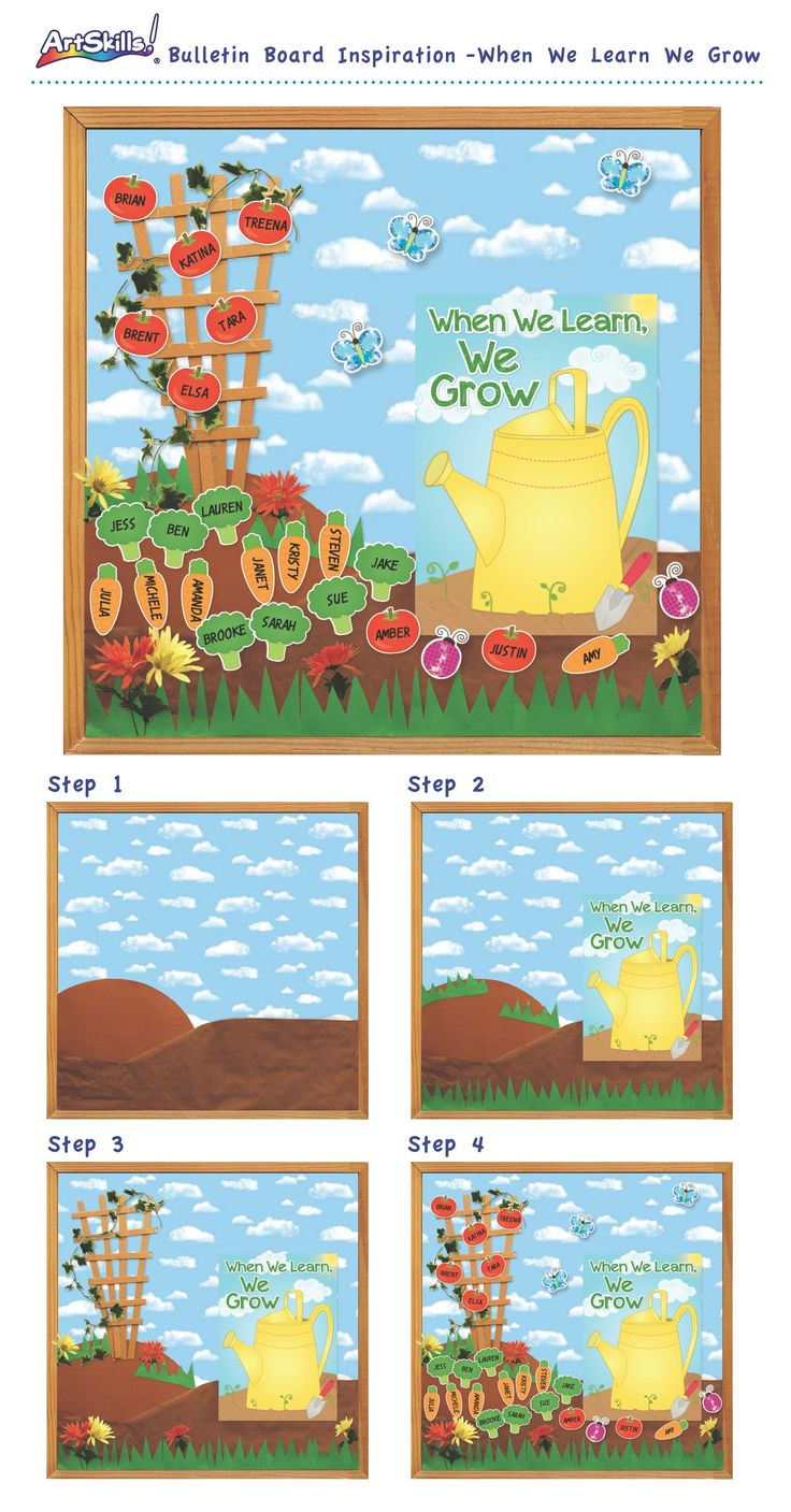 "Bulletin Board Inspiration: ""When We Learn, We Grow"" #teach #class #garden"