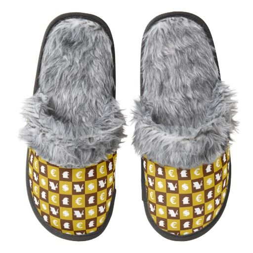 International money currencies signs pattern pair of fuzzy slippers