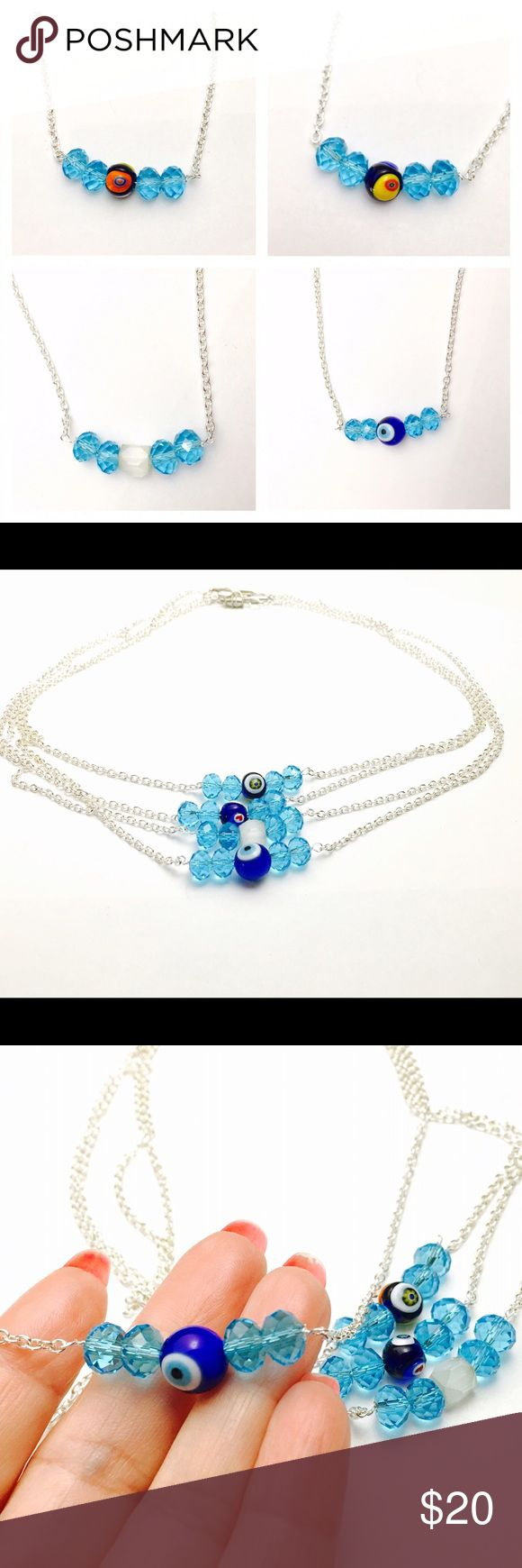 Blue crystal trendy necklace, silver tone, NWOT Blue crystal trendy necklace, silver tone, handmade NWOT Jewelry Necklaces