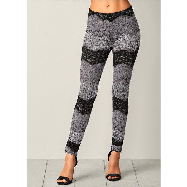 Venus Women's Multi Color Lace Leggings ($28) ❤ liked on Polyvore featuring pants, leggings, grey, elastic waist pants, multi coloured leggings, colorful pants, multicolor leggings and elastic waistband pants