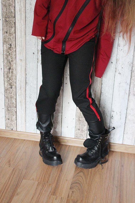 Rock Metal Women's Girl's Pants with zips and eco leather – XS/S – bio