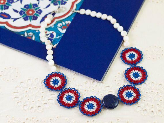 Blue Red Crochet Lace Necklace - Statement Necklace - Nacre Pearl & Lapis Lazuli Gemstone - Fiber Art Jewelry - Ottoman Iznik Tile
