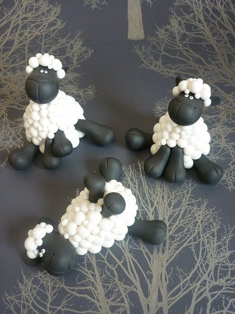 Sheep wedding cake toppers - Boys by The Designer Cake Company, via Flickr