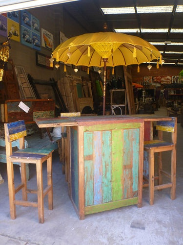 Balinese Recycled Boat Furniture Retro Fold Out Bar 3 Stools Table Outdoor  | EBay