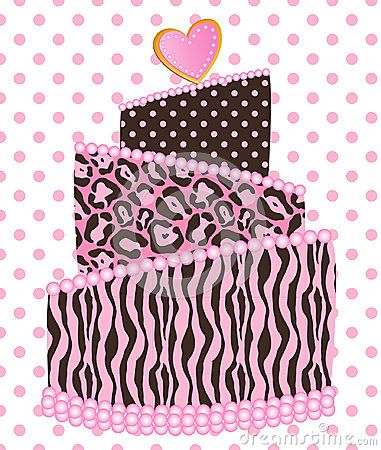 Cute funny leopard zebra wedding cake with polka dot pattern vector illustration.