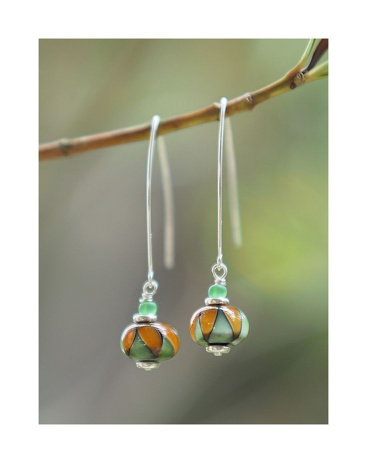 Boucles d'oreilles argent 925 ornées de perles en verre de Murano filé au chalumeau : Boucles d'oreille par lapetitefileusedeverre