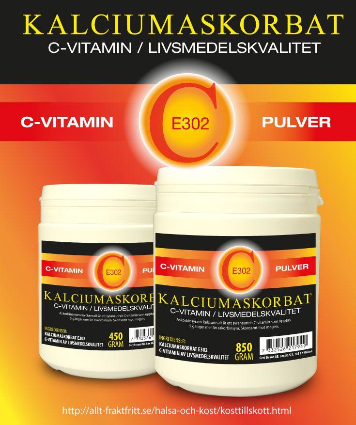Kalciumaskorbat är Askorbinsyrans kalciumsalt. En bättre och dyrare C vitamin än askorbinsyra. Syraneutralt och 5 ggr lättare för kroppen att ta upp än askorbinsyra.