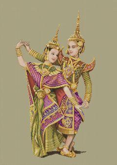Rama V Reign Thai Classical Dancers, pinn-stitch