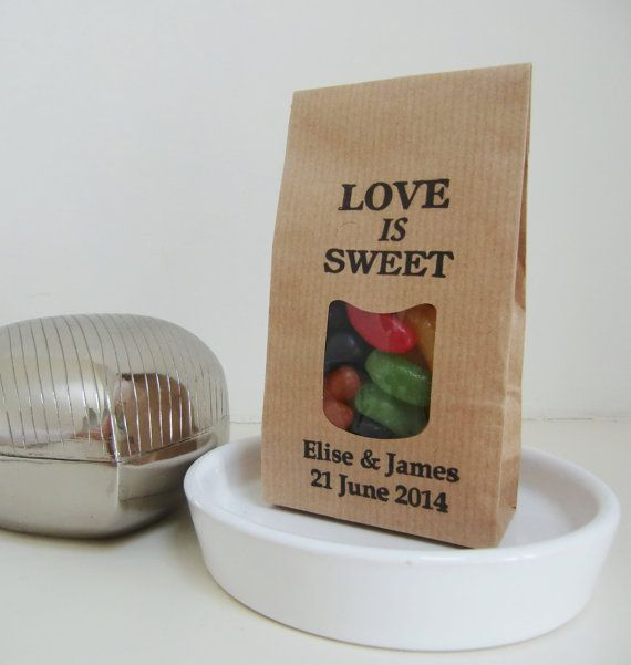 LOVE IS SWEET-Personalized Wedding Favors-Brown Kraft Bag-Handstamped Name/Date-Unique Wedding Favors-Wedding Favor Ideas-Various Sets