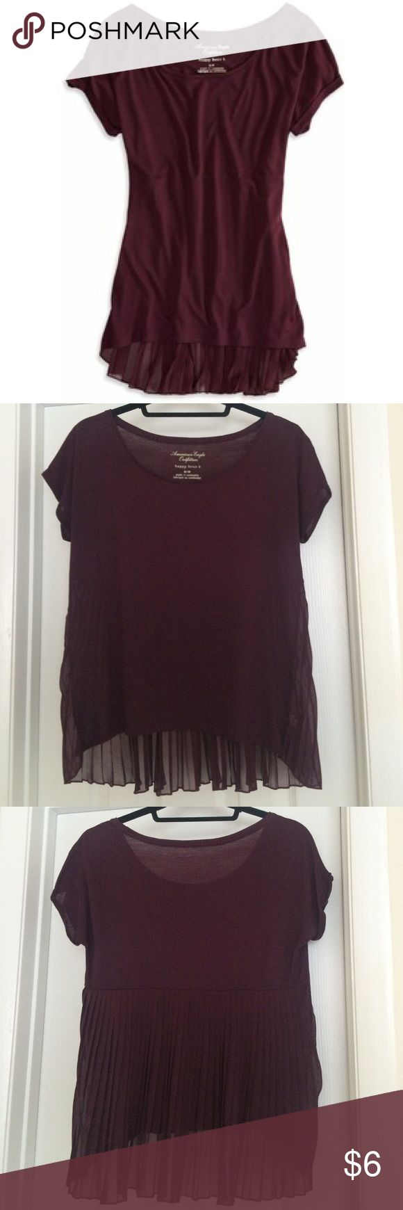 American eagle outfitters happy hour t American eagle outfitters happy hour t, size small, maroon. Flows back, light weight tee, breezy, like new condition American Eagle Outfitters Tops Tees - Short Sleeve