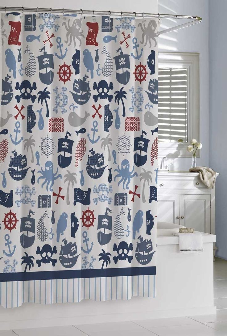 Boy bathroom shower curtains - Amazon Com Kassatex Scb 115 Prt Mul Bambini Pirates Shower Curtain Pirate Bathroom Decorboy