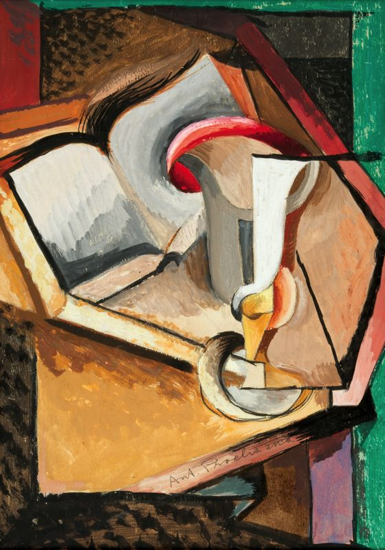 Antonín Procházka - Still life with cup and book (1915) #painting #art #CzechArt #Czechia