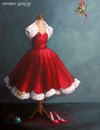 'SANTA, BABY'....Christmas Dress painting original ooak holiday party art.  by 4WitsEnd, via Etsy