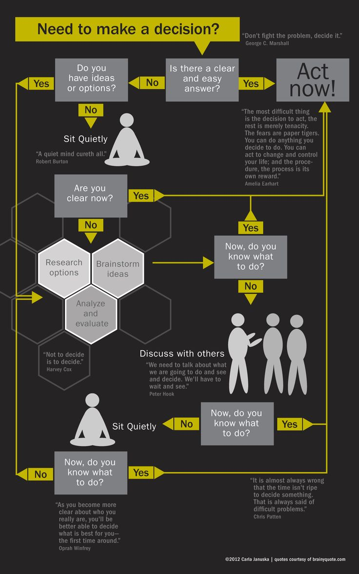 An infographic process flow chart on decision-making to understand choice-making dynamics. Self-promotion.