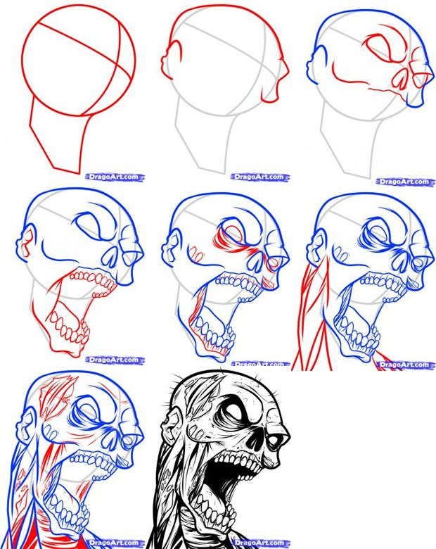 drawing zombies | How to Draw a Zombie Tattoo