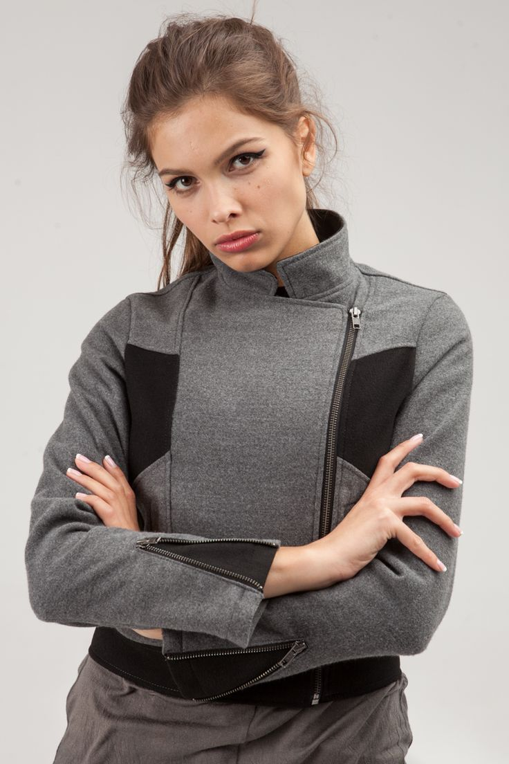 Biker jacket made of gray coating fabric with black inserts. #mariashi #fashion #newcollection #nofilter #outfit #outfitoftheday #outfits #outfitpost #clothes #fashionista #fashiondesigner #shopping