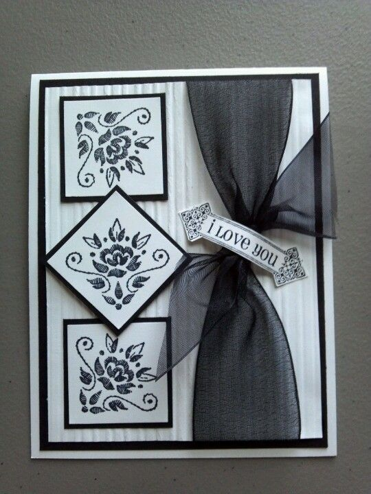 handmade card ... black & white ... matted  inchie trio with flourish designs ... like the dynamic look created by rotating center inche to make a diamond ...