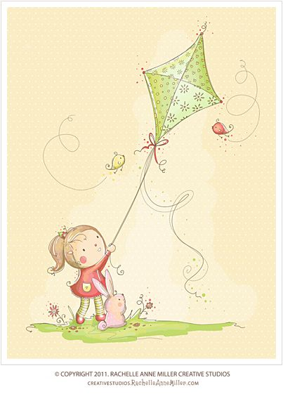 Girl with kite. Pretty illustration by Rachael Miller. (Search for kite if the link doesn't take you straight there).