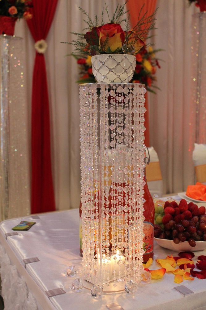 "24"" WEDDING CENTERPIECES CRYSTAL COLUMNS DECORATIONS HANDCRAFTED"